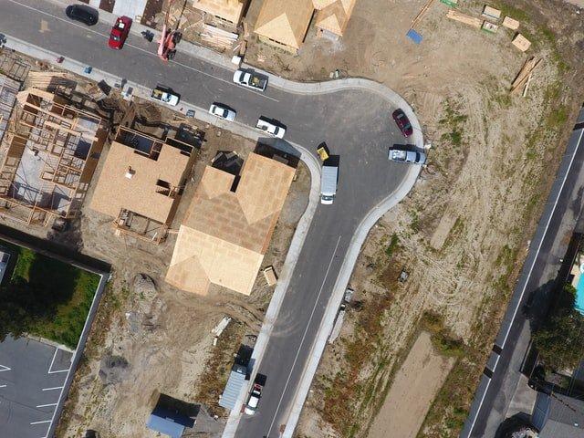 vista aérea de proyecto de urbanización